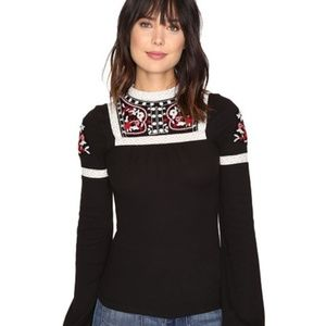 NWT Free People Black Embroidered Cozy On Up Top